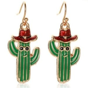 🆕LIST! Cactus with Santa Hat Fashion Earrings